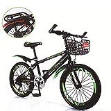 Bicicleta de montaña unisex 7 velocidad Acero de alto carbono 18 pulgadas 20 pulgadas 22 pulgadas Estudiante Niño Ciudad del viajero Cabellera dura Bicicleta con estante trasero y cesta,Green,20Inch