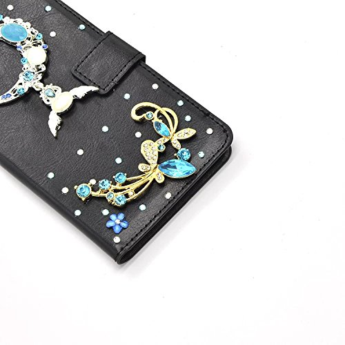 Vandot per iphone 8 Custodia in pelle Protettiva Flip Cover per iphone 8 Fiore Snap-on Magnetico Bookstyle PU Case,3D DIY Bling Bling Lusso Elegante Fantasia Shell + Hairball x 1 - Nero a forma di cuo Strass 24