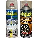 Sprayset für VW Urbangrey Farbcode LD7W oder 2A oder 9936 oder 2A2a Baujahr 1997 - 2013 Metallic Lack * 2 Spraydosen Ludwiglacke Lack Spray im Set - Eine Spraydose Basislack 400 ml und eine Dose Klarlack glänzend 400ml. Beide Spraydosen enthalten 1K Autolack.