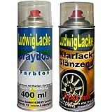 Sprayset für VW Chagallblau Farbcode LD5D oder J2 oder 9524 Baujahr 1994 - 2000 Unilack * 2 Spraydosen Ludwiglacke Lack Spray im Set - Eine Spraydose Basislack 400 ml und eine Dose Klarlack glänzend 400ml. Beide Spraydosen enthalten 1K Autolack.