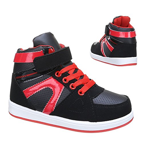 Kinder Schuhe, L-63, FREIZEITSCHUHE Schwarz Rot