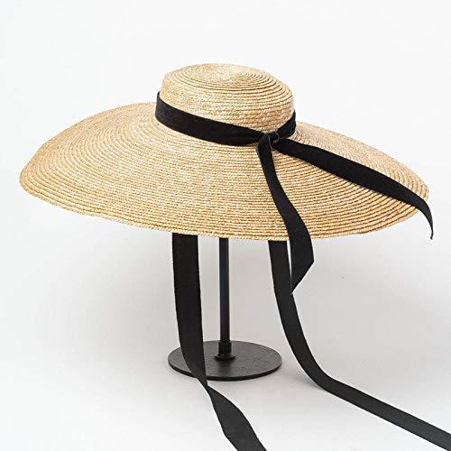 Visoren für Herren Damen Sonnenhüte für Damen Frühling und Sommer Modelle beugen Flache dekorative große Buchweizen Stiel Strohhut Bühne Laufsteg konkave Form Hut @ natürliche Farbe