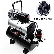 ABEST - Compresor aerógrafo profesional, con enfriador, un pistón, minicompresor de aire, con tanque para 3 litros, regulador, filtro para agua