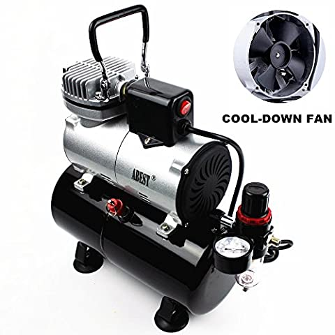 ABEST Airbrush Compressor Cool Runner Professional High Performance Single-Piston Mini Air Compressor with 3-Liter Air Tank, Regulator, Gauge, Water Trap