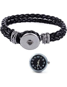 Morella® Damen Click-Button Set geflochtenes Armband schwarz und Druckknopf Uhr schwarz