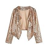 FIRSS Frauen Pailletten Coat | Cropped Blazer | Rüschen Trenchcoat | Unregelmäßige Wintermantel | Slim Fit Strickjacke | Mode Elegante Langarmshirt Outwear