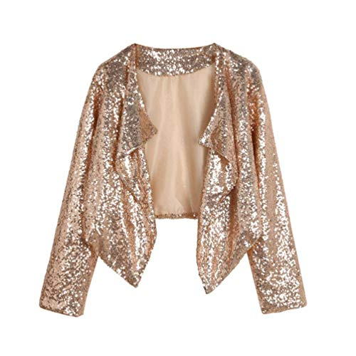 FIRSS Frauen Pailletten Coat   Cropped Blazer   Rüschen Trenchcoat   Unregelmäßige Wintermantel   Slim Fit Strickjacke   Mode Elegante Langarmshirt Outwear