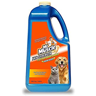 Mr Muscle® Pets Pro Strength Stain & Odour Remover Fresh Scent Patented Formula Professional Strength Cleaner for Use On Carpet, Nylon and Upholstery – 3.55 Litre 51evhDChJKL