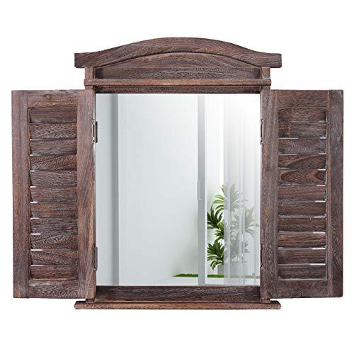 fenster spiegel holz Mendler Wandspiegel Spiegelfenster mit Fensterläden 53x42x5cm ~ braun shabby