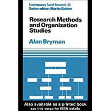 Research Methods and Organization Studies (Contemporary Social Research) by Alan Bryman (1989-12-20)