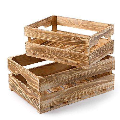 MyGift Set von 2Country rustikal Finish Holz Aufbewahrung Box/dekoratives Tablett Carrier Boxen W/Griffe Medium Torched Wood - Dekorative Boxen Aufbewahrung