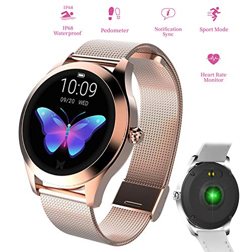 Watch Armband Wasserdichte Blutdruckuhr mit Herzfrequenzüberwachung Fitness Activity Tracker GPS Bluetooth Sportuhr Schlaf Monitor Pedometer Uhr für iPhone Android Handy,Gold ()