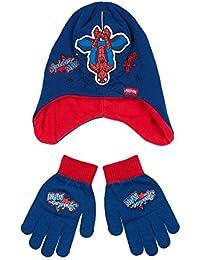 Spiderman Jungen 2 tlg Set bestehend aus: Mütze und Handschuhe - blau