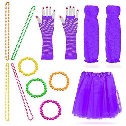 Beelittle Frauen 80er Jahre Outfit Outfit Kostüm Zubehör Set (13-Purple)