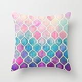 Bedroom Pillowcase Arco Iris Pastel Watercolor patrón marroquí Funda de Almohada de 18x 18(Dos Lados)