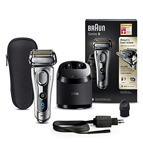 Braun Series 9 Elektrorasierer 9290cc, mit Reinigungs- und Ladestation, Reise-Etui, silber