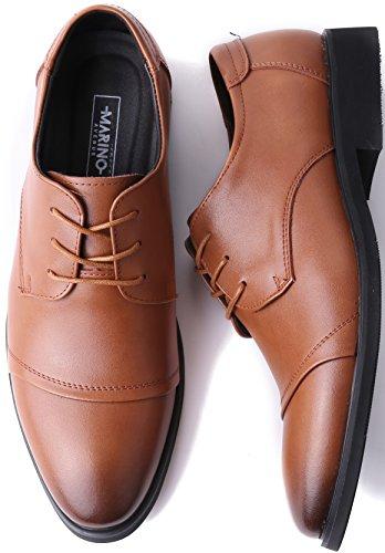 Marino Avenue Herren Derby-Schuhe - Leder - Klassisch & Elegant Bräunen - Cap-Toe