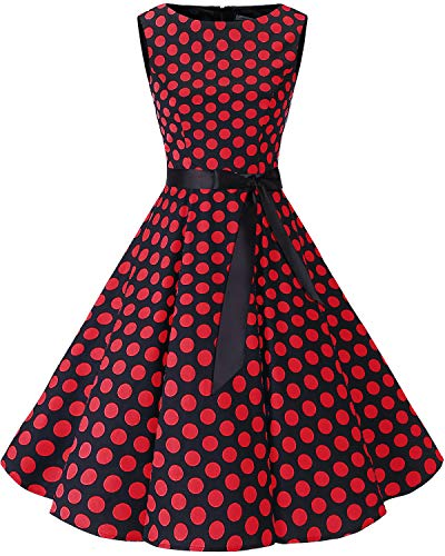 Bbonlinedress 50s Vestidos Vintage Retro Rockabilly Clásico Black Red Big Dot L