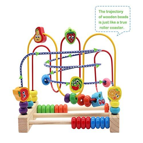 Nuheby Jouet Bois Boulier Labyrinthe Boulier Enfant Jeu Eveil Bebe Perles  Bois avec Coloré Fruit ... bd6994bd1e07