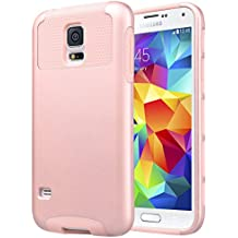 Carcasa S5 ULAK Galaxy S5 Funda Case doble capa del Silicona de alta Resistencia del Carcasa de Shell para Samsung Galaxy S5 (Rosa Oro)