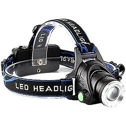 Power King batería Linterna frontal, lámpara de cabeza LED con zoom, resistente al agua, manos libres linterna frontal linterna faro 3modos para Camping Ciclismo Caza Pesca Deportes al aire libre