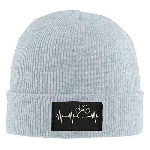 fgjfdjj Adult Paw Print Heartbeat Winter Acrylic Knit Beanie Hat Skull Cap Acrylic Knit Beanie Cap