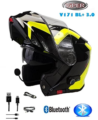 Viper RS-V151 BL + bluetooth flip up casco modulare Hi-Viz giallo S