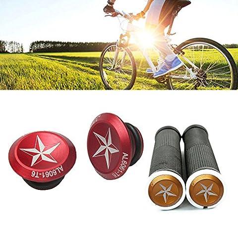 Bouchon de guidon de vélo, Weant 1paire en alliage pour vélo de route de VTT Cycle Guidon Barre Bouchon d'extrémité Poignée Plug Cover, Red