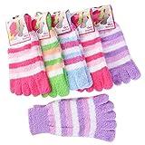 UEETEK Unisex Regenbogen Streifen fünf Zehen-Socken 6 paar kurze Socken (zufällige Farbe)