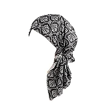 Samidy Floral Turbans Cap Chemo Caps Long Ties Satin Head Scarf Set Hair Loss Turban Cancer Hat for Women Girls (Black)