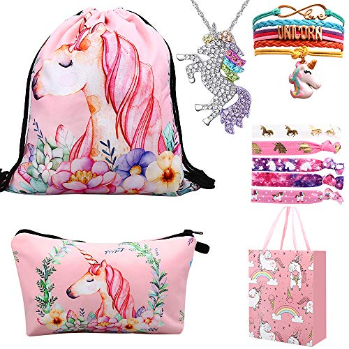 RHCPFOVR Unicorn Gifts for Girls 6 Pack - Unicornio Mochila con cordón/Maquillaje Bolsa/Collar Colgante de Unicornio/Pulsera/Lazos para el Cabello/Bolsa de Regalo (Rosa)
