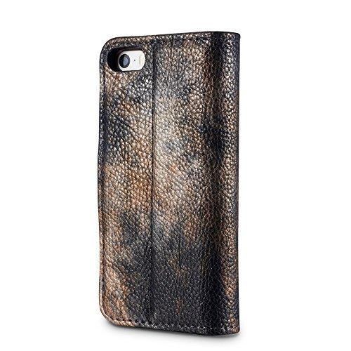 EKINHUI Case Cover Wald Serie Bunte Paiting Litchi Textur Premium PU Leder Horizontale Flip Stand Brieftasche Case Cover mit Card Slots für iPhone 5 5s und SE ( Color : Crimson ) Darkgray