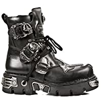 New Rock M.407-S1 Silver Cross Black Gothic Biker Boot Leather Boots Unisex