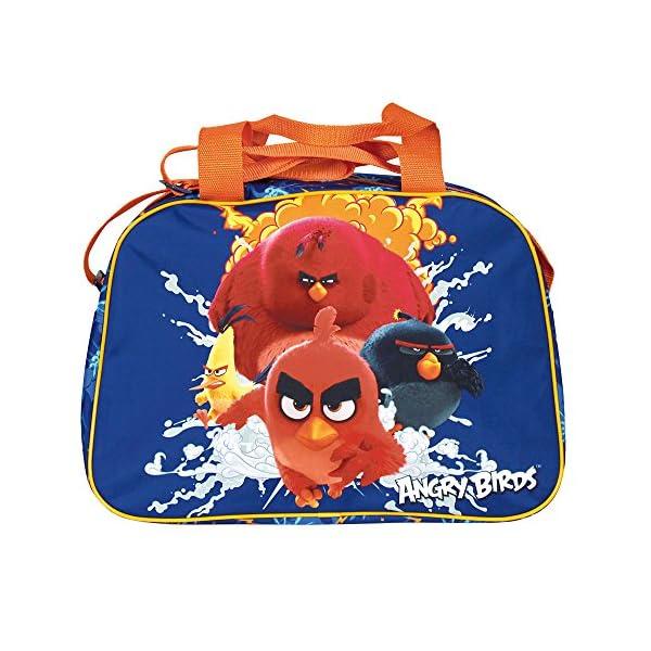 51evpA0Td6L. SS600  - PERLETTI Bolso Deportivo Niño Angry Birds Azul Naranja – Bolsa de Deporte Infantil con Red Bomb Chuck y Terence para el Gimnasio Viajes Escuela Sport - Azul - 28x41x21 cm
