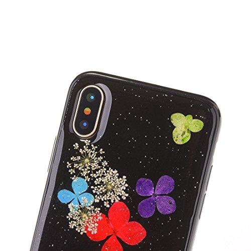 Mobiltelefonhülle - Für iPhone X Schwarz Epoxy Tropf Pressed Echte Getrocknete Blume Weiche Schutzhülle ( SKU : Ip8g0987k ) Ip8g0987f