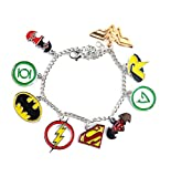 Beaux Bijoux Pulsera de Marvel Superheros - Liga de la Justicia: Batman, Flash, Superman & More Charms en Caja de Regalo