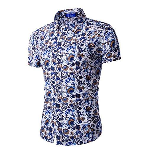 Honghu Herren Urlaub Hawaii-Motiv Hemd Reise Kurzärmeliges Shirt Himmel Blau