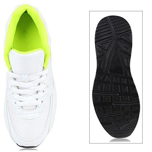Damen Herren Unisex Sportschuhe Neon Runners Laufschuhe Sneakers Weiss Neongrün