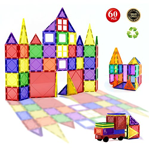 60pcs Magnetic Building Blocks Set - Building Construction Kit Toys For Kids (Stronger Magnets)