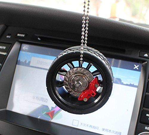 JISHUQICHEFUWU Mode Persönlichkeit Auto Anhänger trendy Rearview Spiegel kleine Anhänger Reifen mit Bremsen Bremssättel hängen Anhänger
