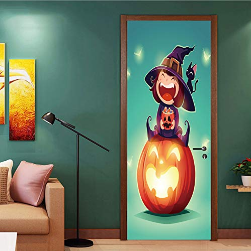 eber Kinderzimmer Happy Halloween Scary Horror Poster Door Sticker Painting Wallpaper Wall Sticker Party Bedroom Home Decor Gifts 77x200cm ()