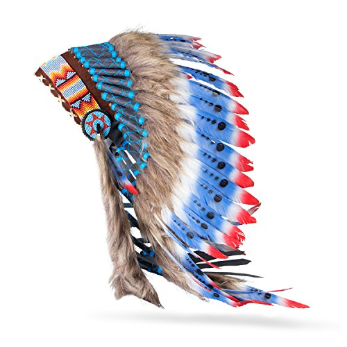 Pink Pineapple Indianer Inspiriert Feder Kopfschmuck Rot Weiß Blau (Chief Kostüme Indian Erwachsenen)