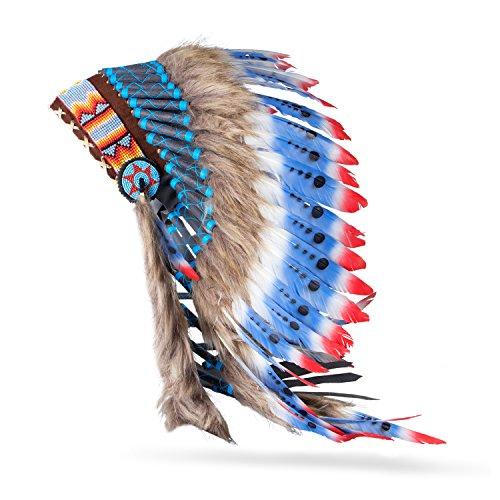 Pink Pineapple // Indio americano nativo Inspirado Plumas Tocado, Sombrero Rojo Blanco Azul (M)