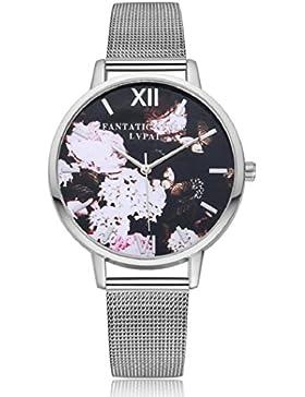 lvpai Damen Vintage Blume Schmetterling Zifferblatt Mesh Band Quarz Armbanduhr–Silber