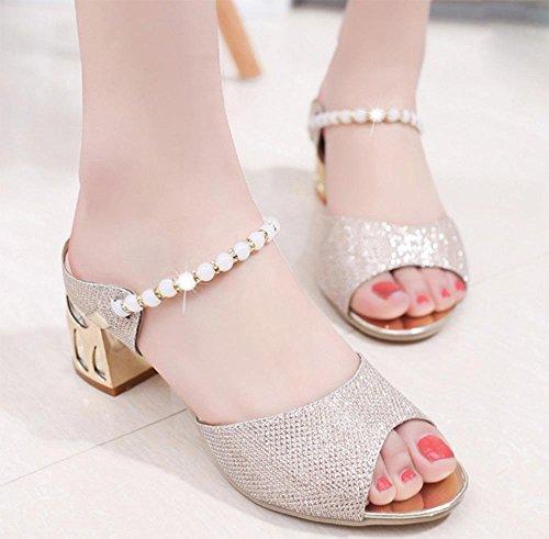 Sommer-Sandalen und Pantoffeln weiblichen Fischkopf rau mit Sandalen Dame Strass Perlen Pantoffeln Wort Gold