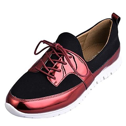 Hengfeng Lacet Coloré Chaussures (37 EU, Rouge)