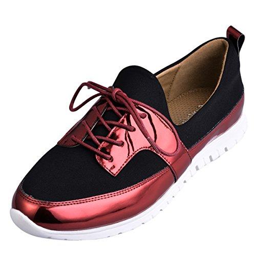 Hengfeng Décontracté confortable Flat Lace Up Chaussures en cuir pour les femmes et les filles 6069-82 Rouge