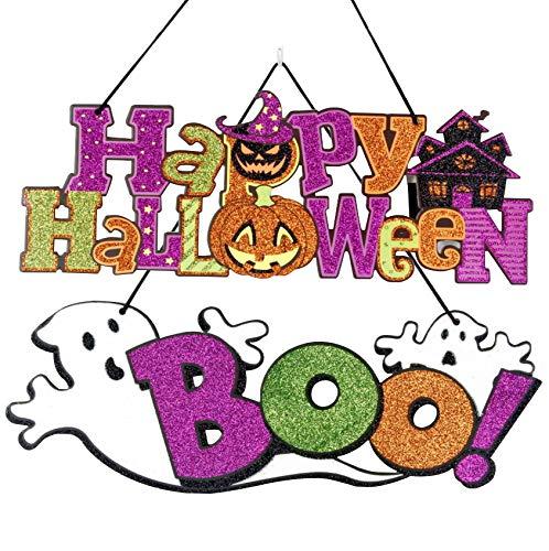 �ngende Schild Hängen Dekoration Plaque Türschild Wandschild Aufhängen Plakette Wohnkultur Requisiten Innen und Outdoor Dekor (Happy Halloween+Boo) ()