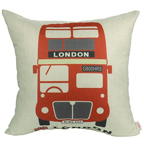 Luxbon Funda Cojines 45x45 Sofá London Autobús Rojo Lino Duradero Fundas de...