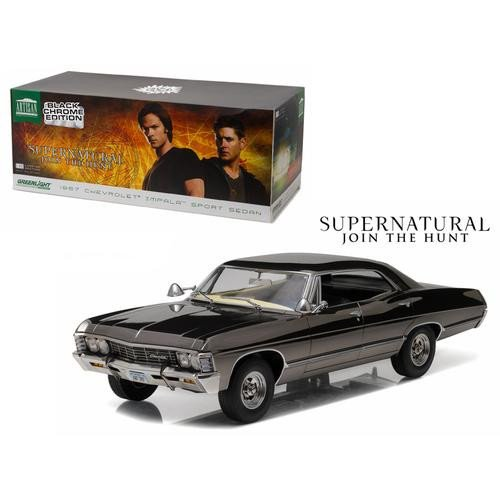 chevrolet-impala-sport-sedan-schwarz-chrom-supernatural-1967-modellauto-fertigmodell-greenlight-118